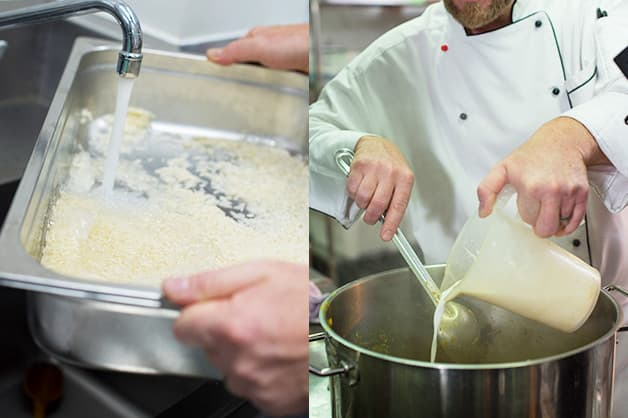 Here the chef is seen mixing the rice