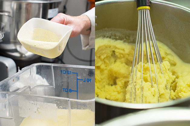 Chef is seen making mash potato