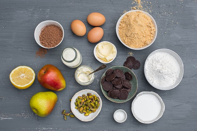Image of the raw ingredients for chocolate brownie