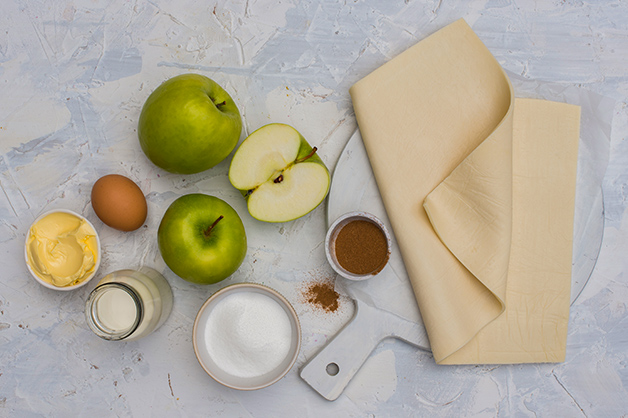 Image shows all the raw ingredients for the apple pie