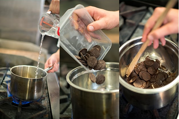 Image shows a chef melting chocolate