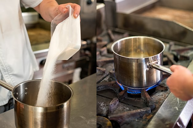 Image shows the chef melting the caster sugar in a pan
