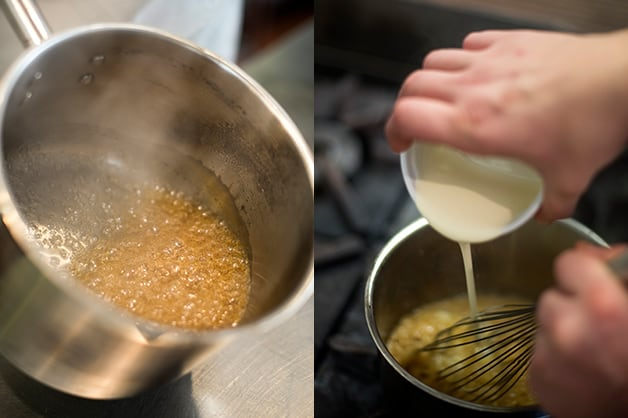 The image shows the sugar being caramelised