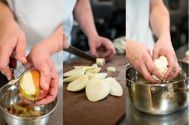 The chef is pictured peeling and slicing the pears