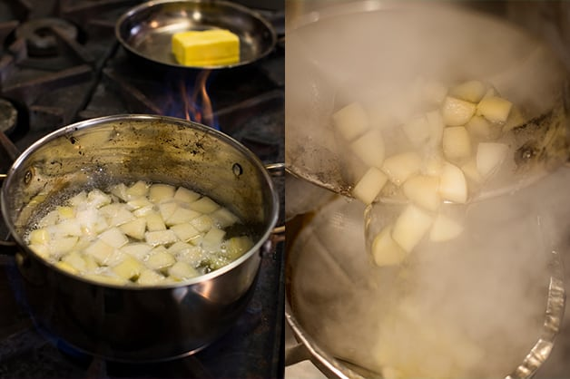 The photo shows the pears being boiled