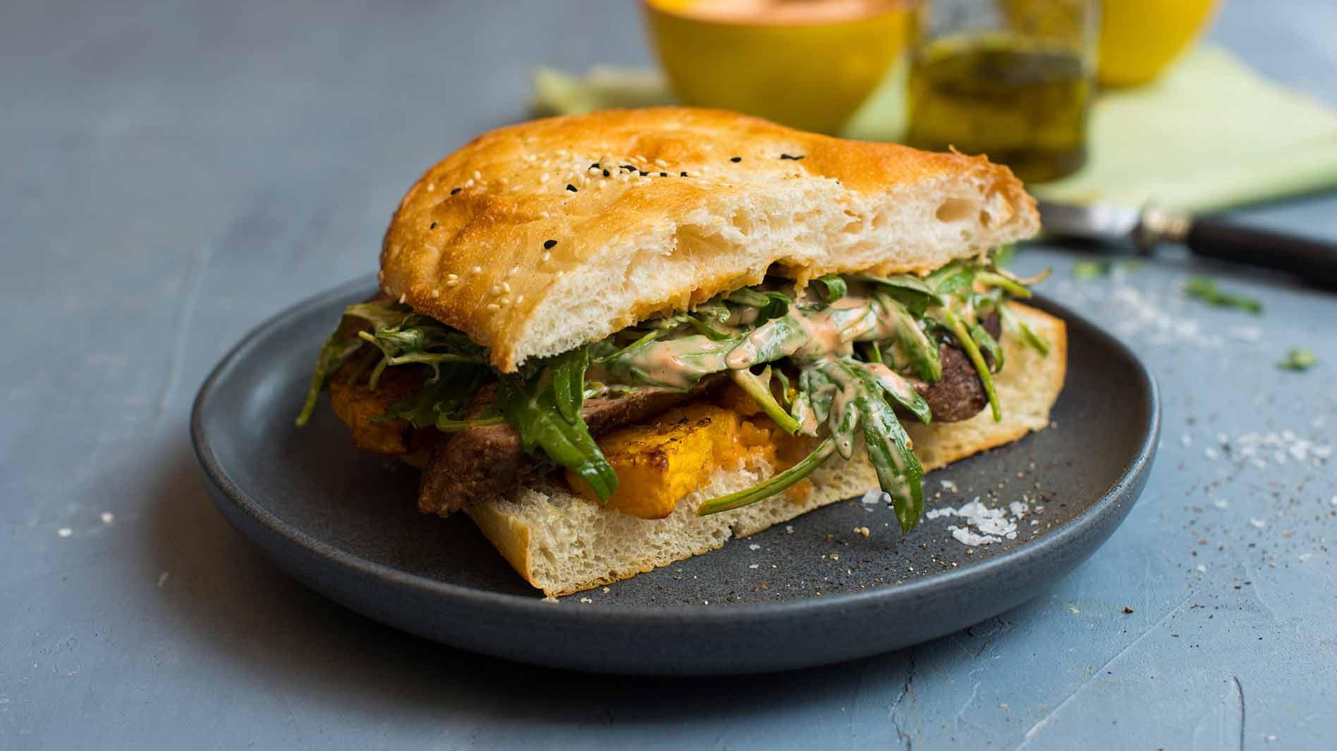 Shredded Moroccan Lamb, Pumpkin & Rocket on Grilled Turkish Bread