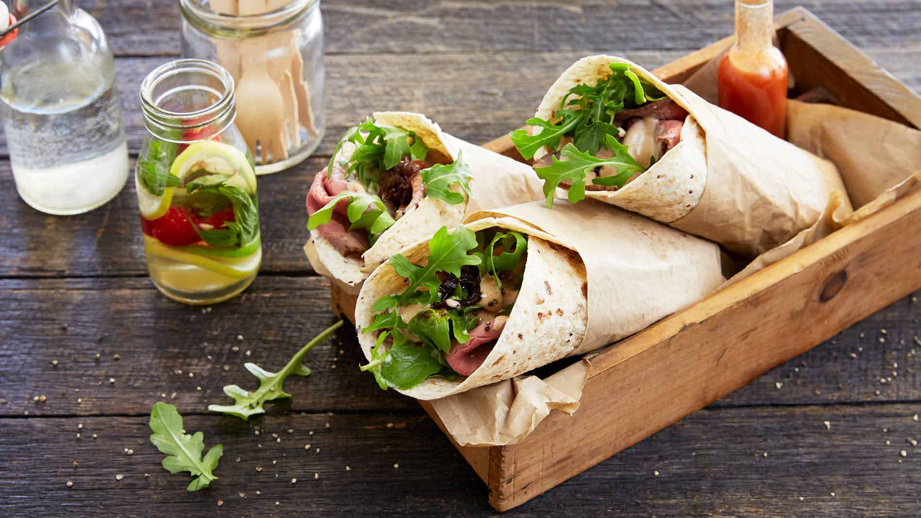 Roast Beef Wrap with Grilled Red Onions and BBQ Aioli