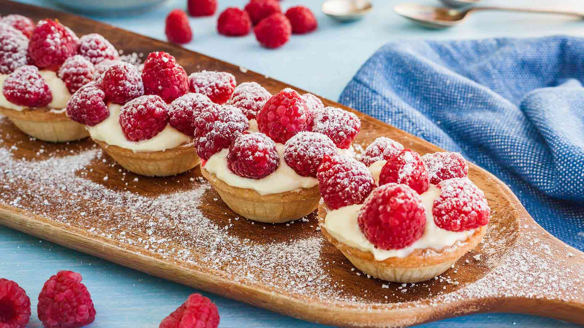 Raspberry, Mascarpone, Grappa and White Chocolate Tartlets
