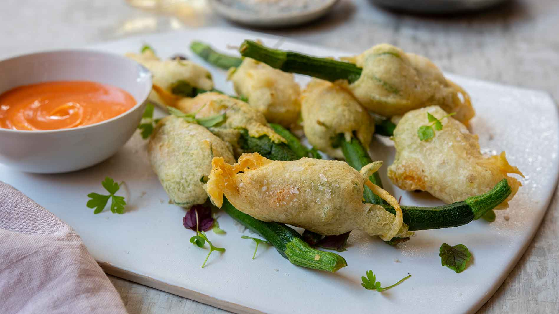 Vegan Tempura Zucchini Flowers Stuffed With Cashew Cheese