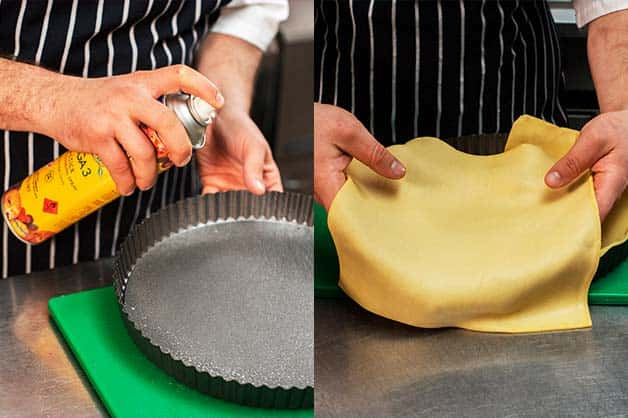 The chef lays the Pampas Shortcrust Pastry over a Gold'n Canola Spray tin