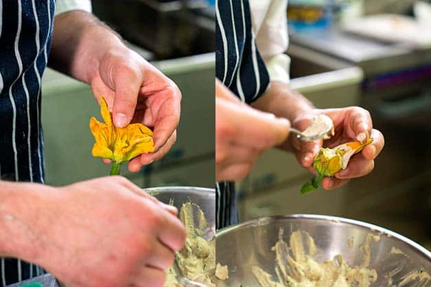 Image shows the chef filling the zucchini flowers