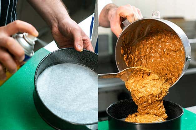 The chef is seen spraying the tin with oil then pouring in the batter