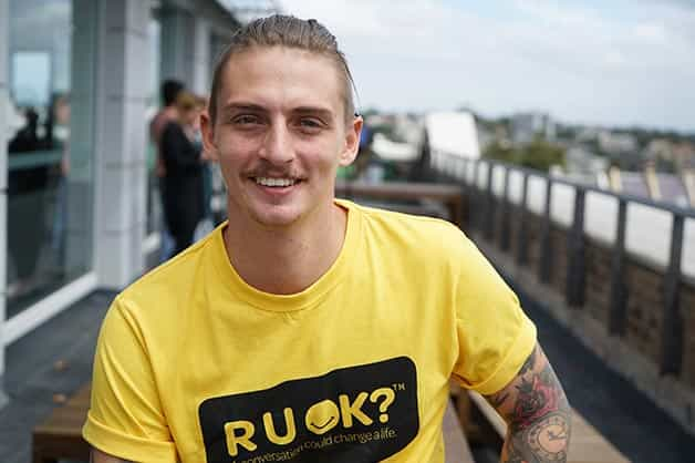 Image shows chef Mal Meiers wearing a R U OK Day t-shirt