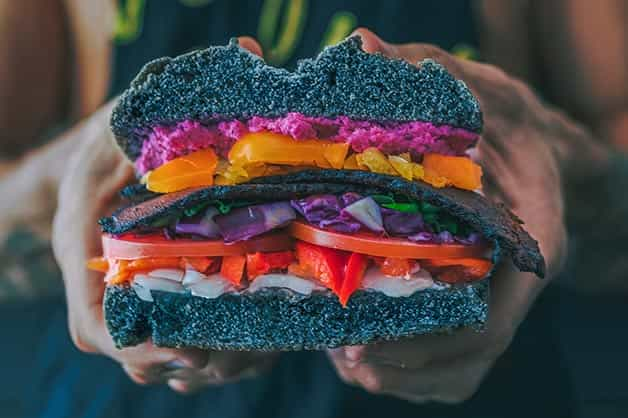 This image shows off a vegan inspired sandwich