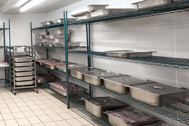 Steel containers used for storage in the kitchen