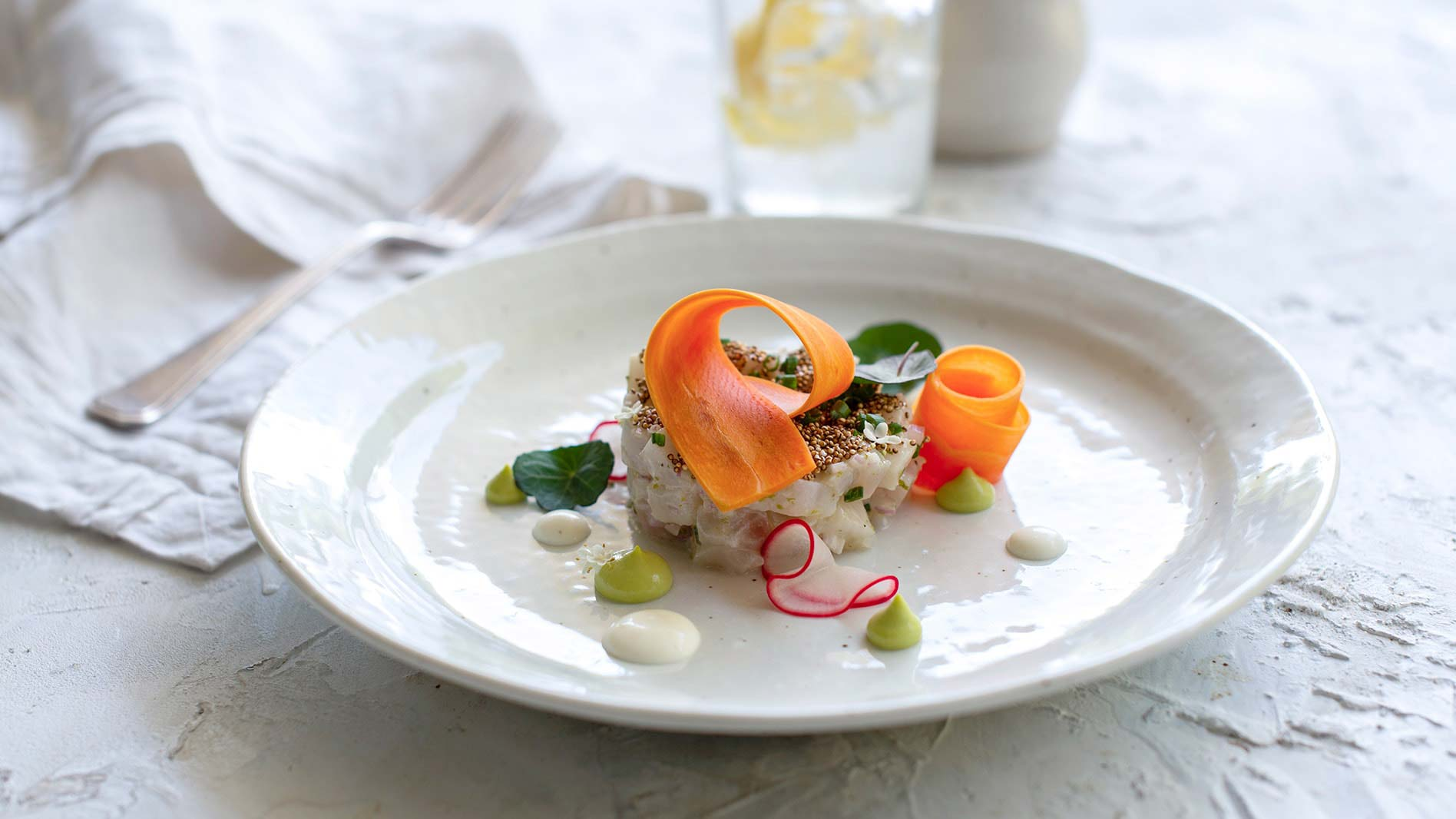Kingfish ceviche with pickled vegetables