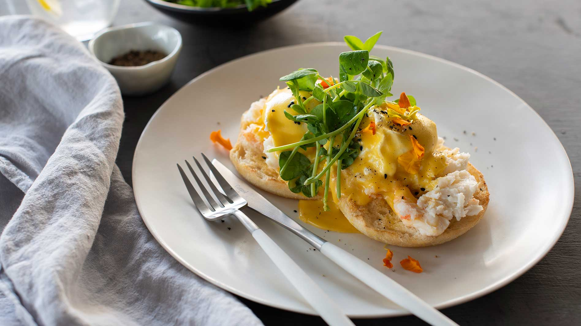 Breakfast menu ideas: Eggs Benedict, Spanner Crab & Wasabi