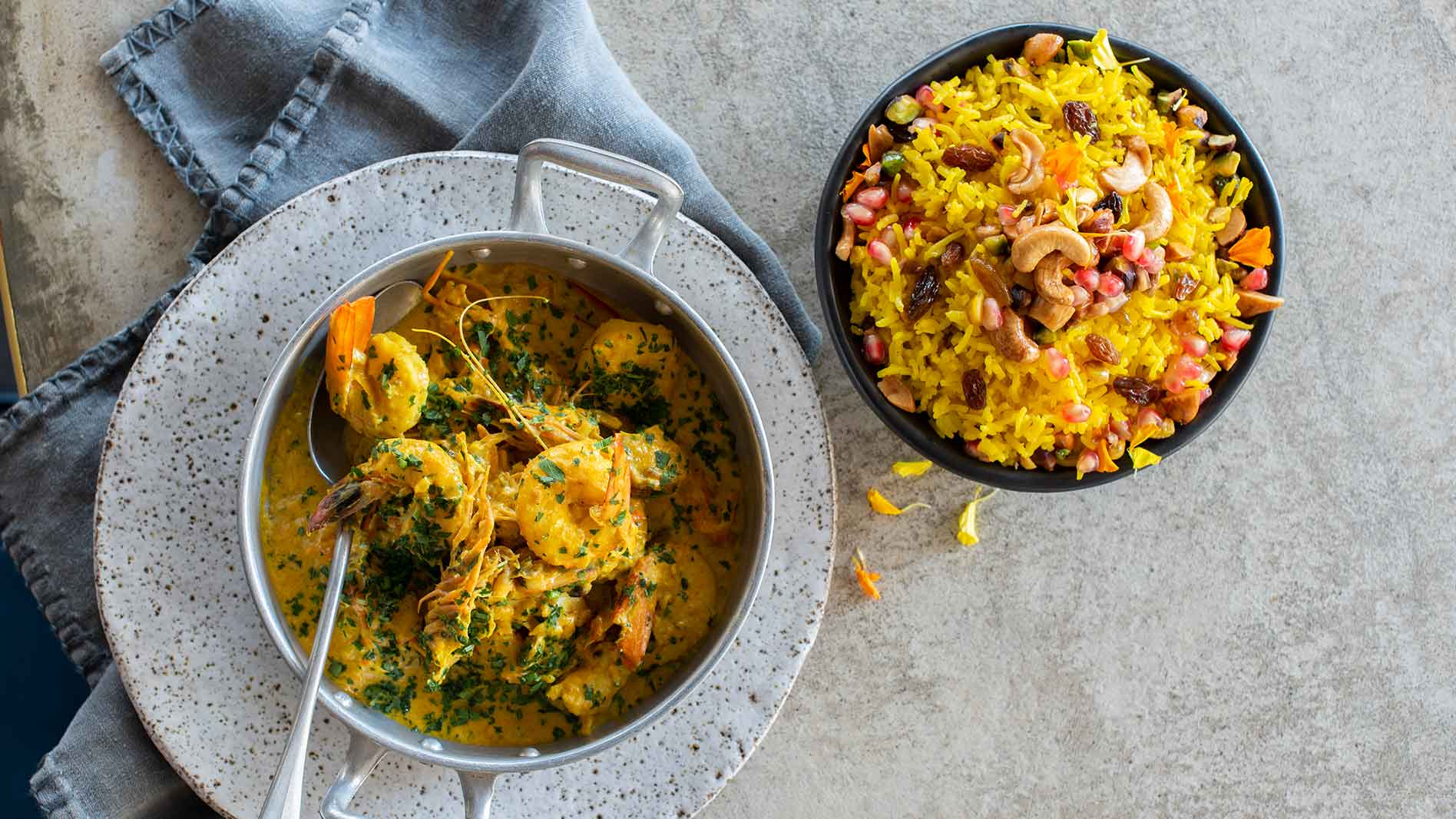 Saffron pilaf with malsi prawn curry