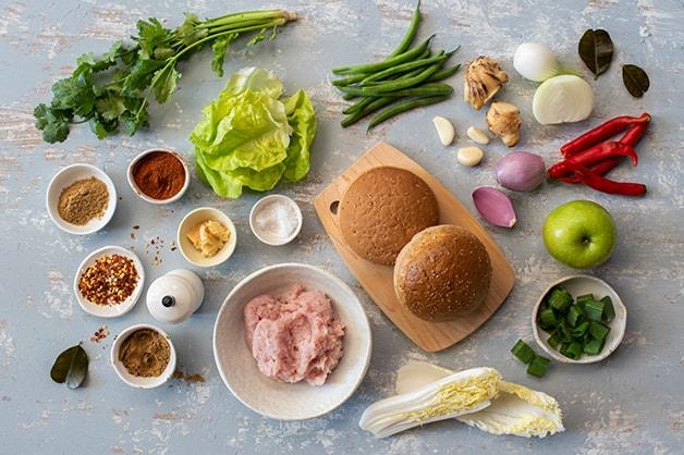 Gluten free chicken burger raw ingredients