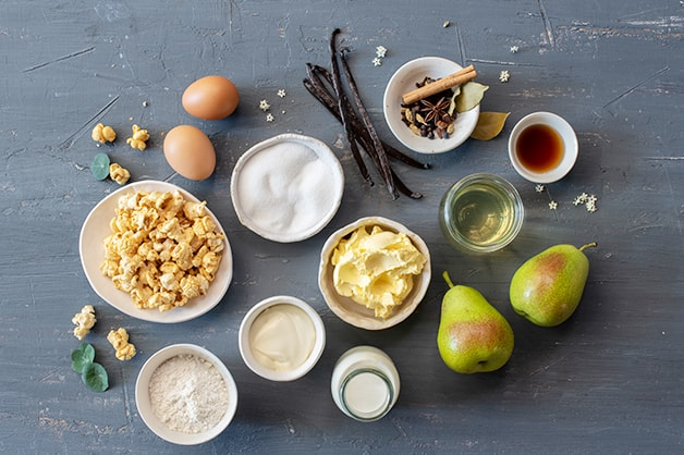 Raw ingredients for the Apple Pithivier served with Anglaise