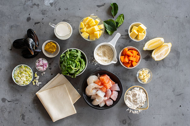 Raw ingredients image for the seafood pie