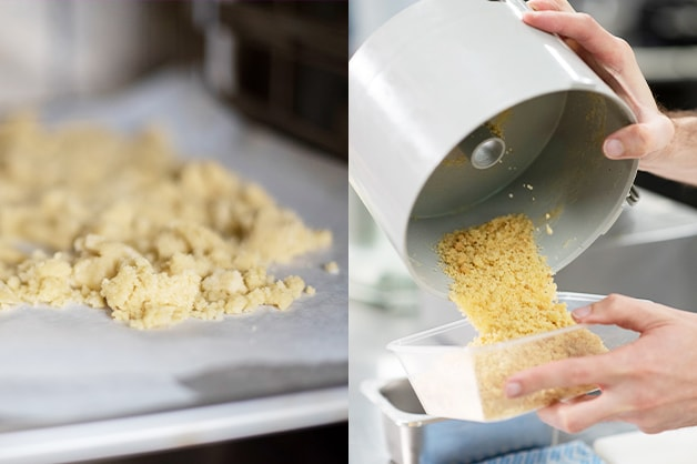Bake the crumb and then crush it in a robo coupe
