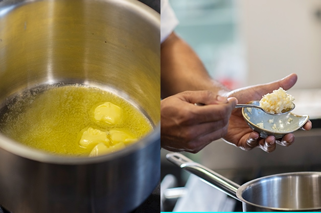 Melting butter and adding garlic to a pot