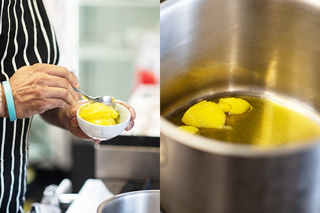 Melting the Ghee on the heat