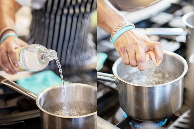 Adding Cornwells Apple Cider Vinegar to the pot then the eggs