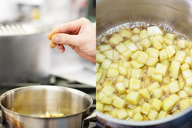 Stewing the apples on the stove