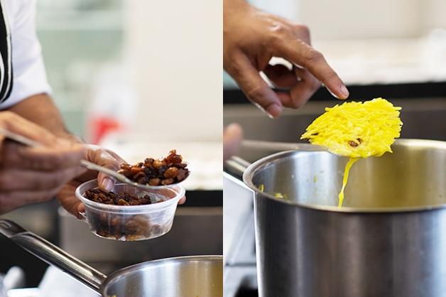 Adding the Goodman Fielder Ingredients Sultanas to the rice
