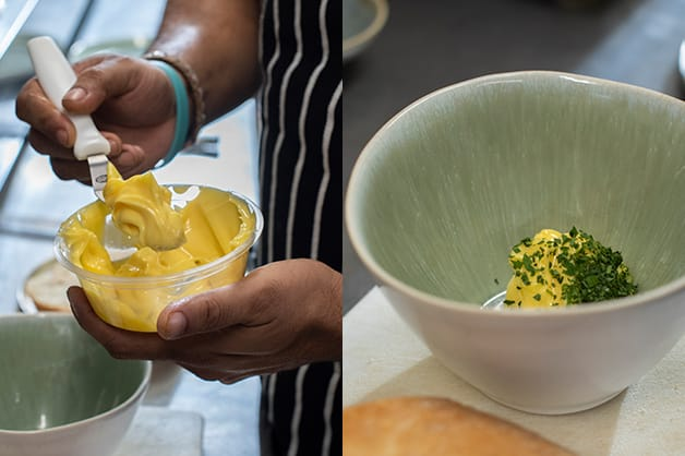 Combing the butter and parsley
