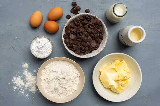 Image of the chocolate tart raw ingredients