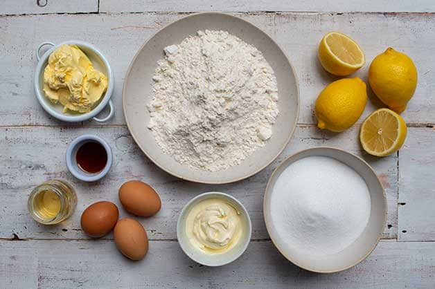 Raw ingredients for the lemon syrup cake