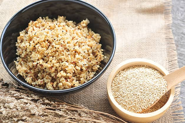 The image is of a bowl of quinoa