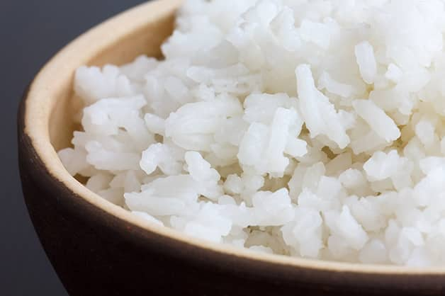 The image is of white cooked rice