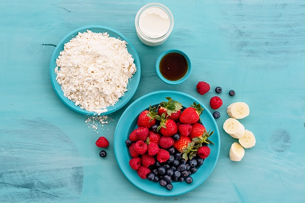 Image of the raw ingredients for the summer berry pancakes