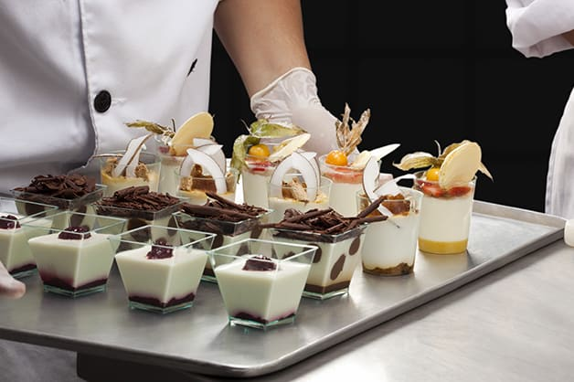 Image shows mini desserts on a serving platter