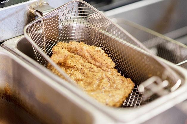 Fried chicken schnitzel is pictured