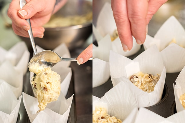 Chef is pictured pouring mixture into muffin cups