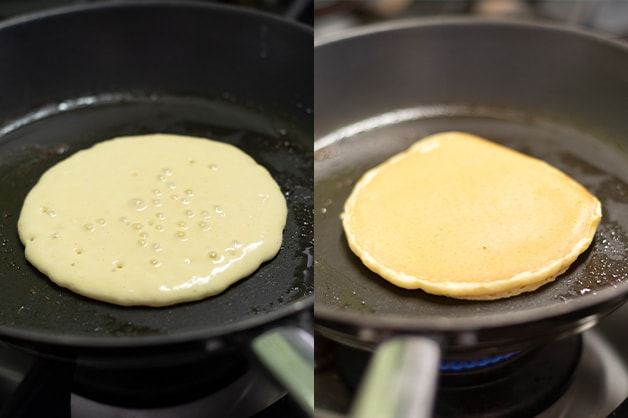 Image of the pancakes frying until they are golden