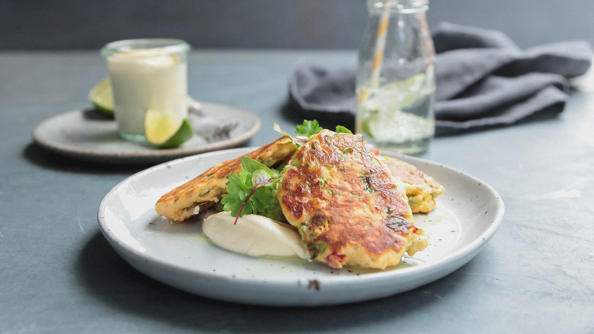 Corn Fritters with Smashed Avocado And Sour Cream