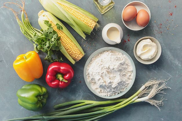 Image of the raw ingredients for the corn fritters
