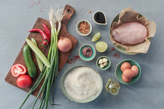 Pictured are the raw ingredients for the Nasi goreng dish