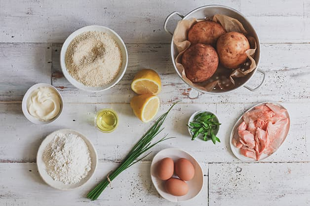Image is of the raw ingredients for the Smoked trout croquette