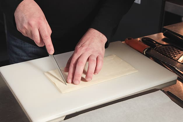 Chef is seen cutting the Pampas Puff Pastry