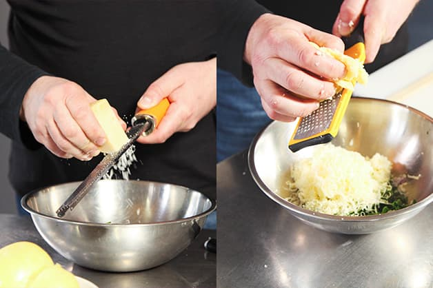 Chef adds the trout and three cheese into a bowl