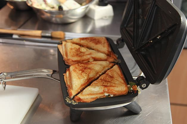 Cooked smoked trout jaffles are pictured