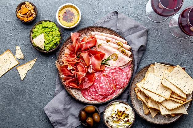 Image is of an antipasto platter