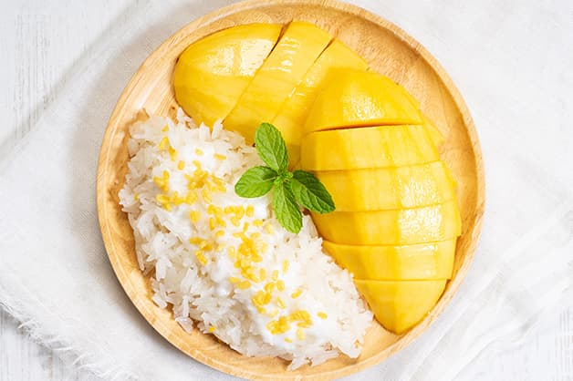 Mango sticky rice pudding is pictured